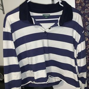 collared striped crop top